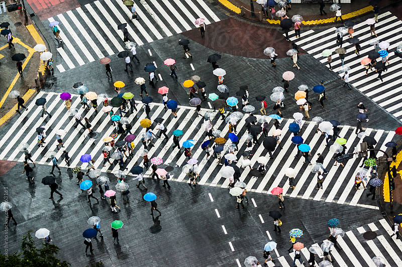 People with umbrellas at Shibuya Scramble Intersection in rain by yuko hirao for Stocksy United