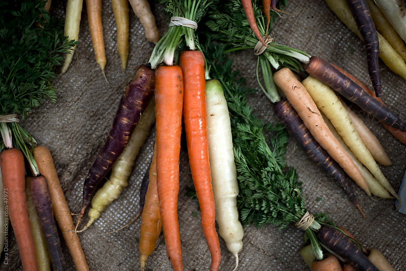 Carrots of many different colors at farmer's market by Cara Slifka for Stocksy United