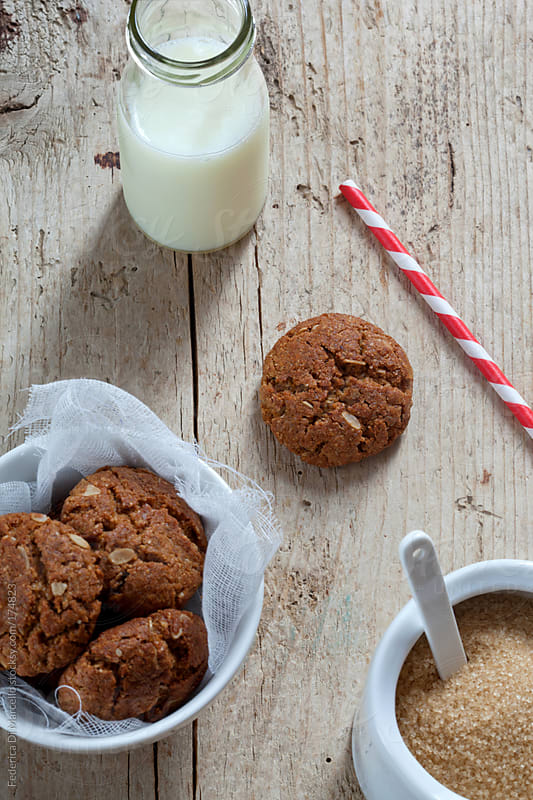 Wholemeal cookies with wheat germ and cereal flakes by Federica Di Marcello for Stocksy United