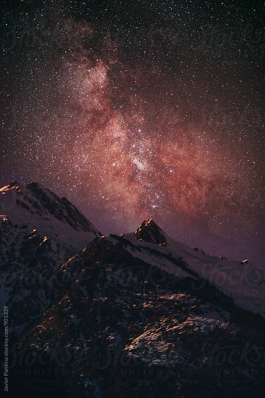 landscape with mountains and milky way  at night  by Javier Pardina for Stocksy United