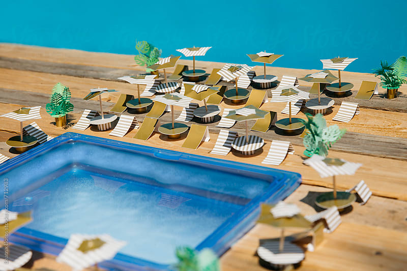Pool area made of paper craft project by Beatrix Boros for Stocksy United