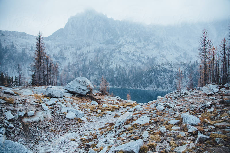 Wild Autumn landscape in first snow of the year by Tari Gunstone for Stocksy United