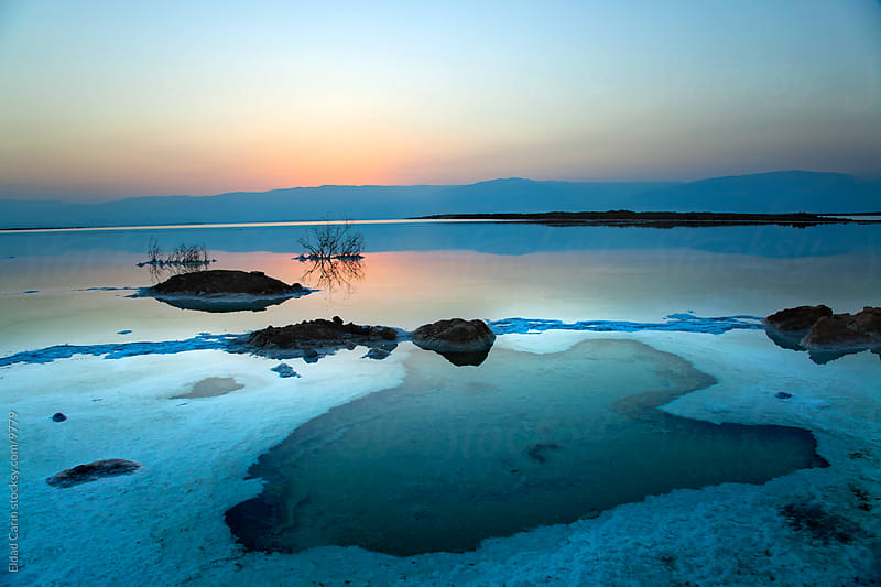 Dead Sea Sunrise - Shallow Waters at Dawn by Eldad Carin for Stocksy United