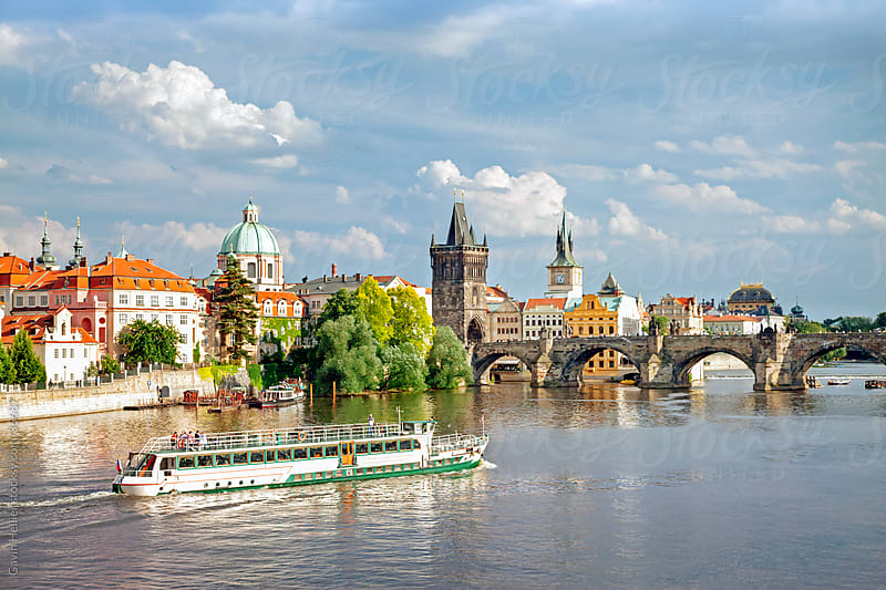 View of the River Vltava, Charles Bridge and the Old Town district, Prague, Czech Republic by Gavin Hellier for Stocksy United