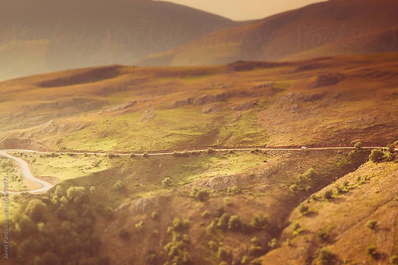 mountain road view from the air at sunset by Javier Pardina for Stocksy United