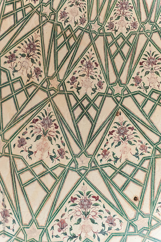 Detail of decorated Palas Amber fort Jaipur, India by Gabriel Diaz for Stocksy United