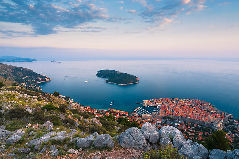 Elevated View of Dubrovnik at Dusk, Croatia by Tom Uhlenberg for Stocksy United