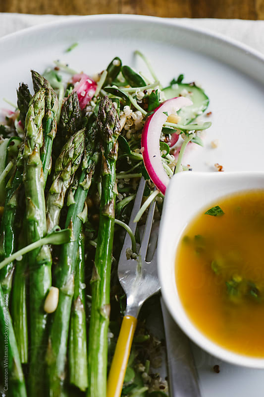 Spring Greens Salad with Roasted Asparagus by Cameron Whitman for Stocksy United