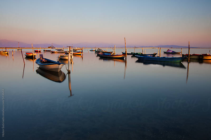 Fishing Boats at Sunset by Helen Sotiriadis for Stocksy United