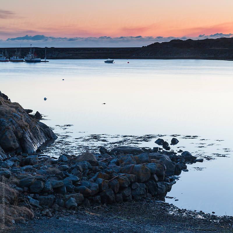 Norwegian harbor at sunset by Marilar Irastorza for Stocksy United