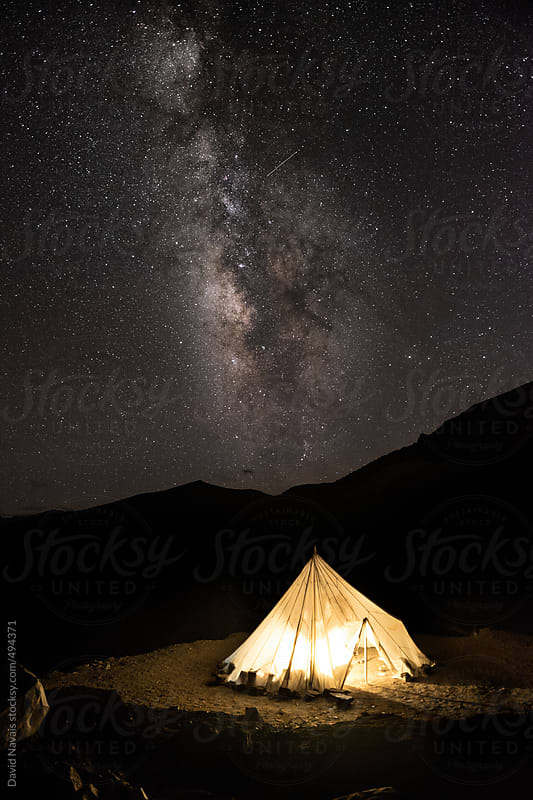 Milky way and tea tent by David Navais for Stocksy United