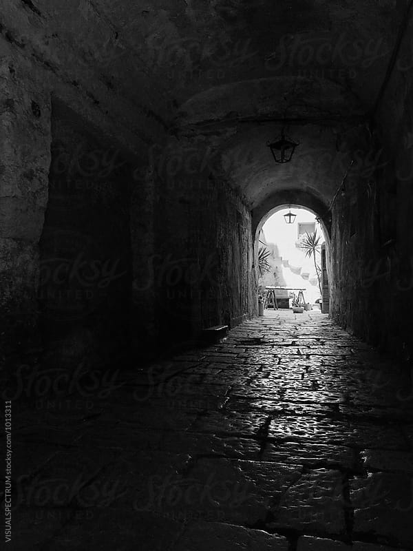 Black and White Shot of Entrance to Old Stone Building by Julien L. Balmer for Stocksy United