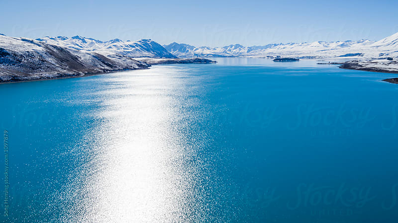 Beautiful aerial view of   lake Tekapo,Otago by Song Heming for Stocksy United