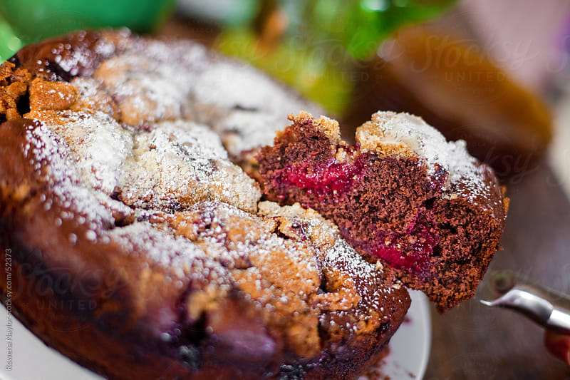 A Slice of Chocolate and Rapsberry Cake by Rowena Naylor for Stocksy United