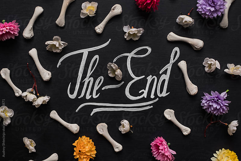 Text the end with bones and flowers by Marko Milanovic for Stocksy United