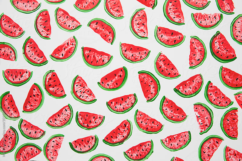 Handmade watermelon background by Martí Sans for Stocksy United