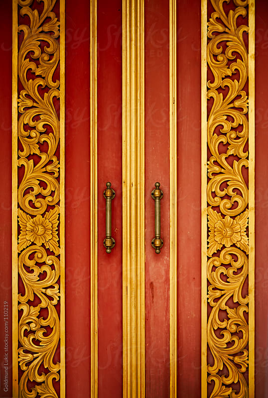 Door of a Buddhist Temple in Thailand by Goldmund Lukic for Stocksy United