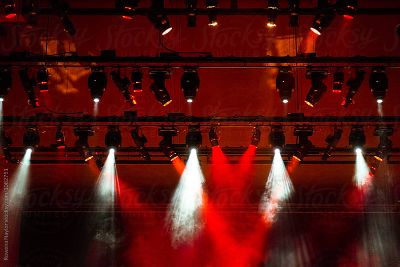 Red and White Concert Lights by Rowena Naylor for Stocksy United