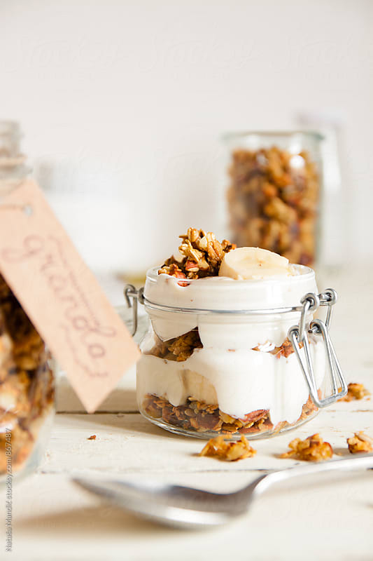 Yogurt with homemade granola  by Nataša Mandić for Stocksy United