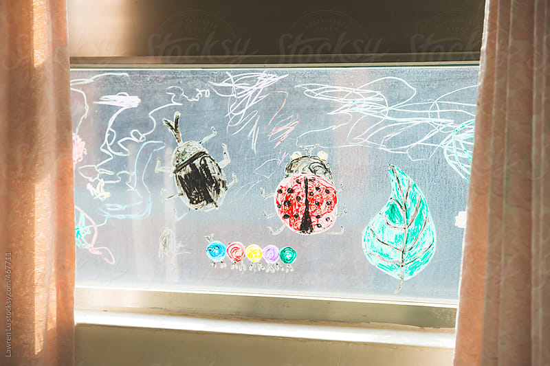 Colorful ladybug and beetle drawing on glass of window by Lawren Lu for Stocksy United