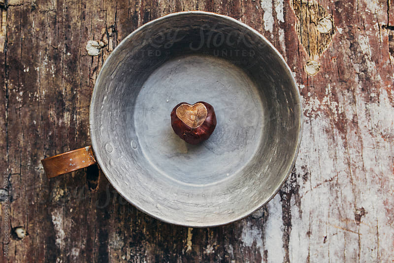 Heart shaped chestnut on a cracked wood table by Maja Topcagic for Stocksy United
