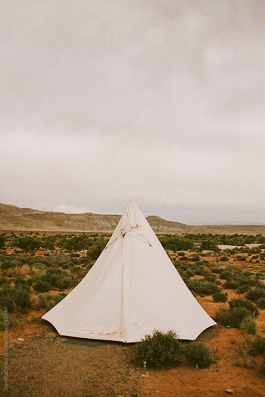 a tipi out in the desert. by Joe+Kathrina for Stocksy United