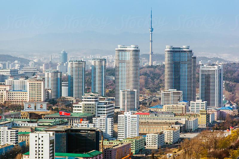 Democratic Peoples's Republic of Korea (DPRK), North Korea, Pyongyang city skyline by Gavin Hellier for Stocksy United