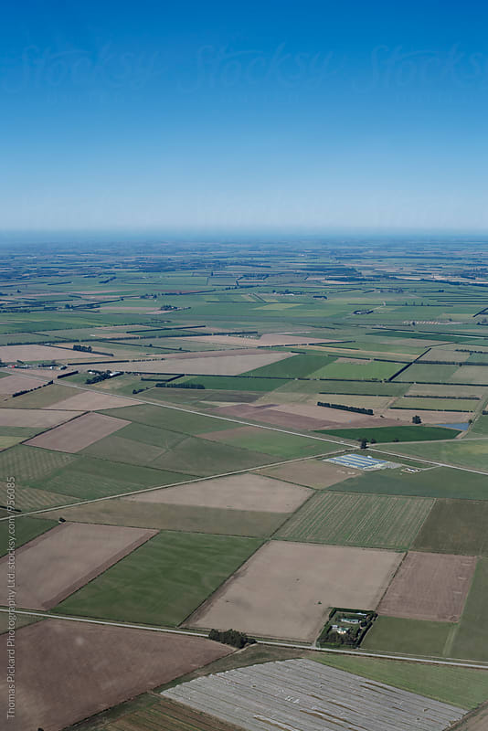 Aerial view of Canterbury Plains, South Island, New Zealand. by Thomas Pickard for Stocksy United
