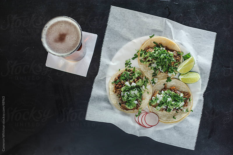 Bar Food: Carnitas Tacos and Beer by Cameron Whitman for Stocksy United