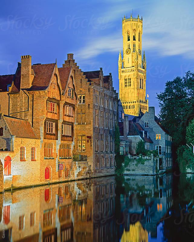 The Belfry of Belfort-Hallen illuminated at night, Bruges (Brugge), UNESCO World Heritage Site, Belgium, Europe by Gavin Hellier for Stocksy United