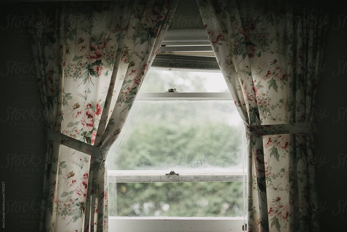 Dark Shadowy Room Looking Outside Window With Vintage Floral