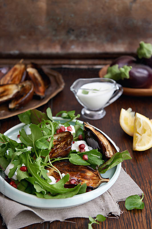 Grilled aubergine green salad  by Daxiao Productions for Stocksy United
