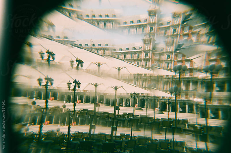 A film photo of square in Madrid made with old analog camera by Anna Malgina for Stocksy United