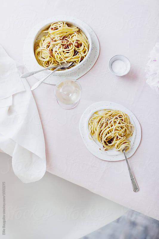 Spaghetti carbonara by Ellie Baygulov for Stocksy United