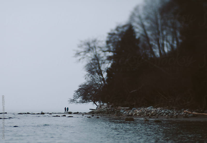 A couple wanders the rocky beach on a foggy day. by Cherish Bryck for Stocksy United