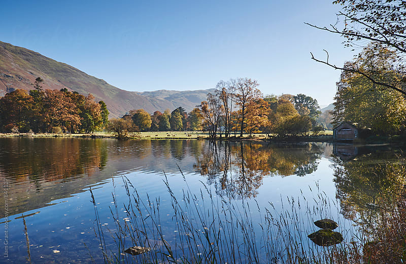 Reflections and autumnal colour. Ullswater, Cumbria, UK. by Liam Grant for Stocksy United