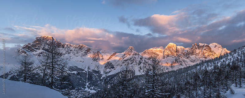 panorama of the dolomites at sunset by Leander Nardin for Stocksy United