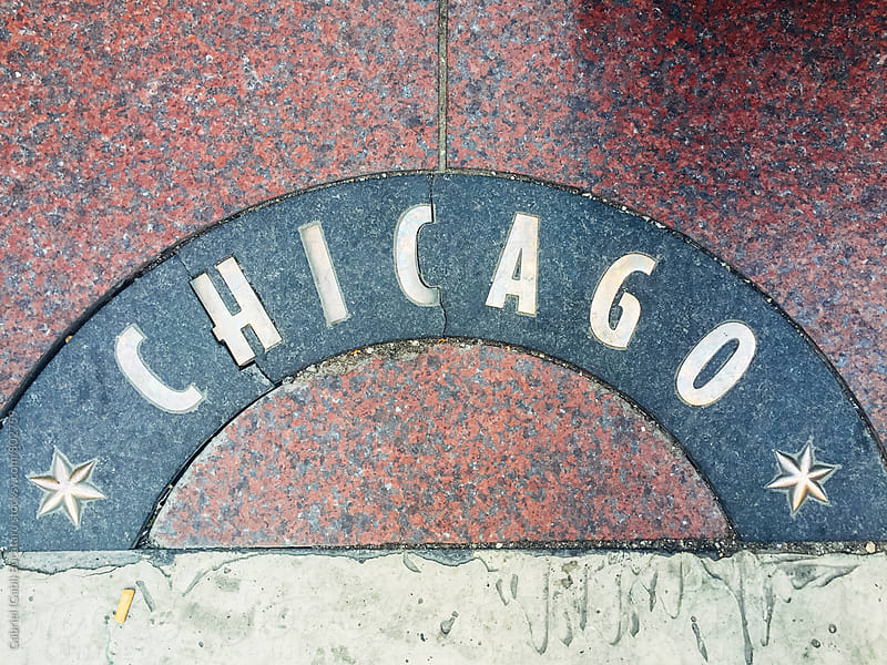 Chicago sign on a sidewalk by Gabriel (Gabi) Bucataru for Stocksy United
