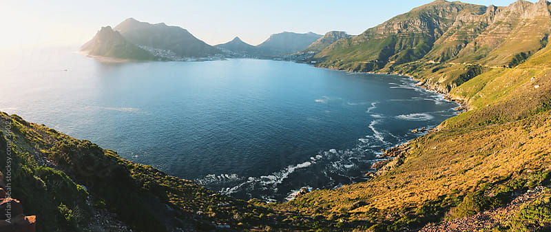 View of Hout Bay from Chapman's Peak Drive, Cape Town, South Africa by Adrian Seah for Stocksy United