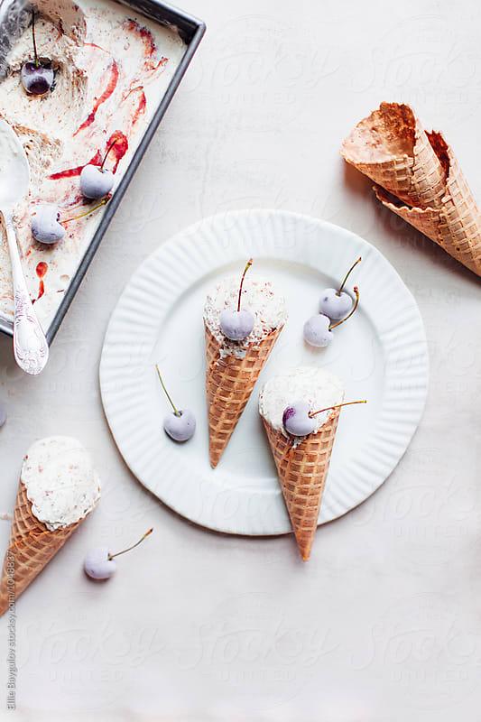 Cherry ice cream by Ellie Baygulov for Stocksy United