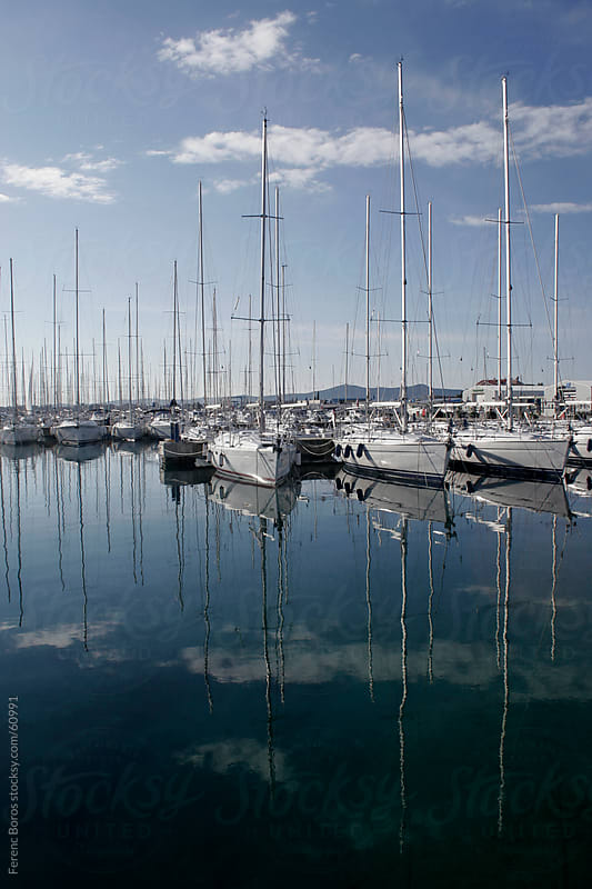 Sailing yachts in marina by Ferenc Boros for Stocksy United