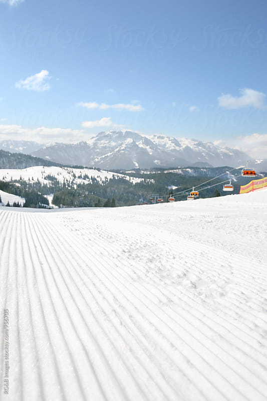 Groomed ski piste in the Alps by RG&B Images for Stocksy United