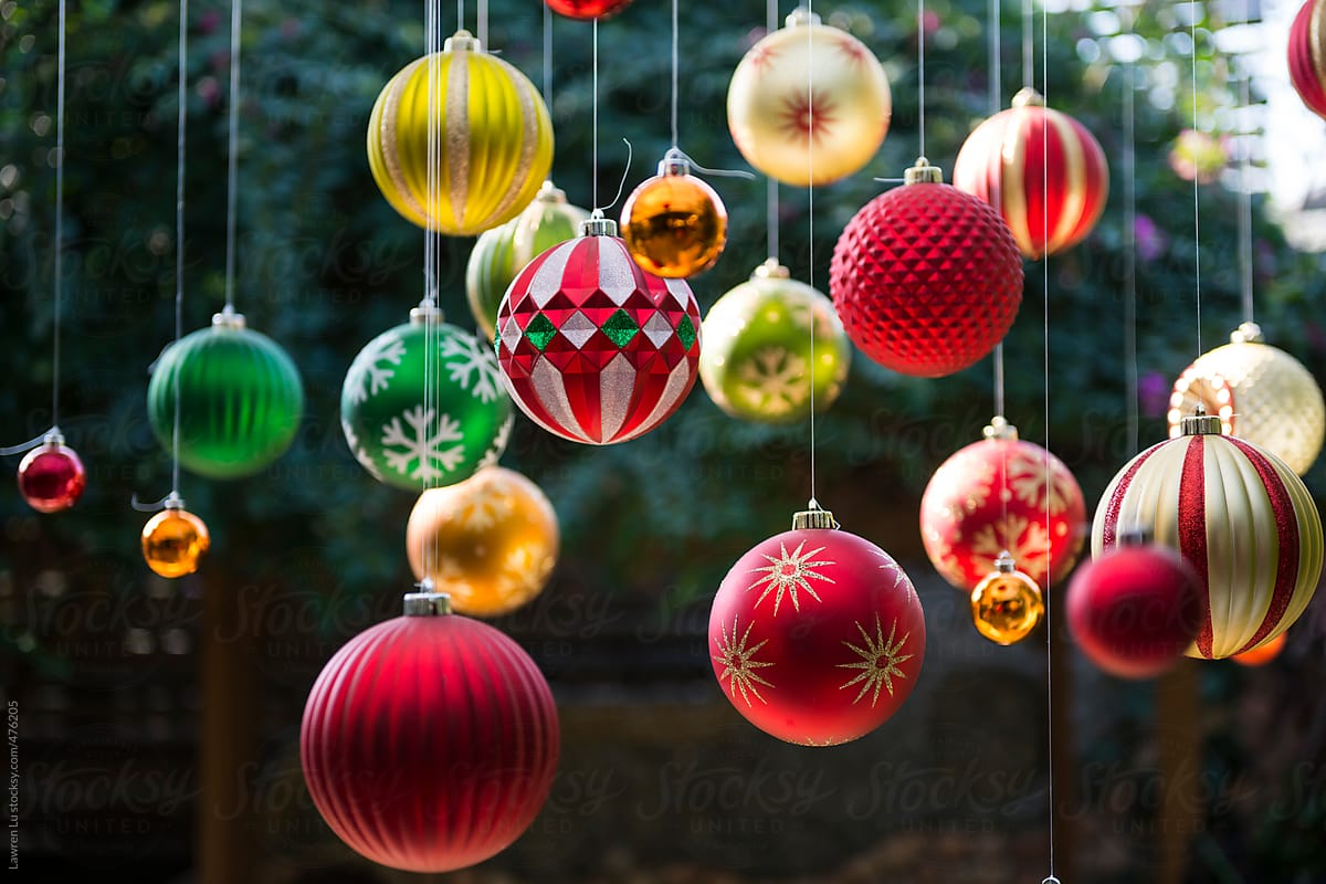 Colorful Christmas Balls.Many Colorful Christmas Balls Hanging In The Garden With