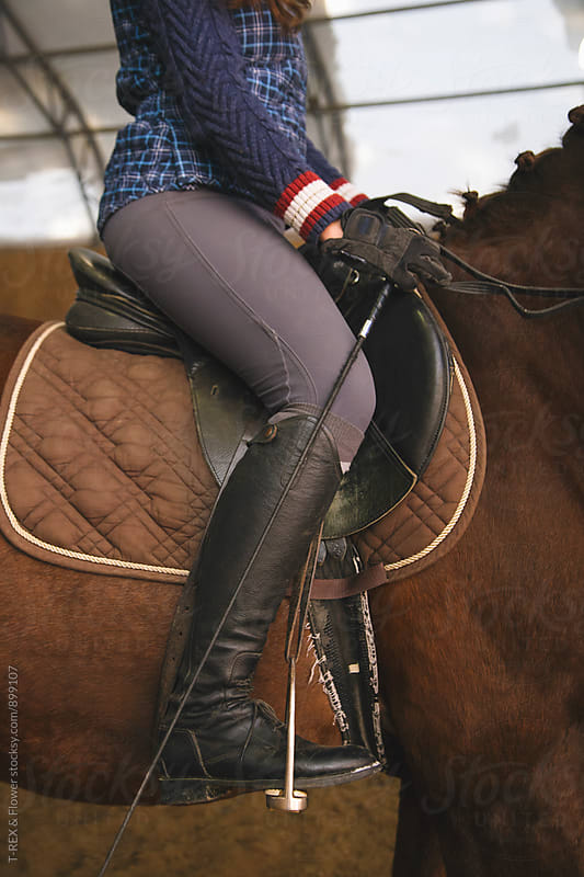 Woman in saddle on brown horse by T-REX & Flower for Stocksy United