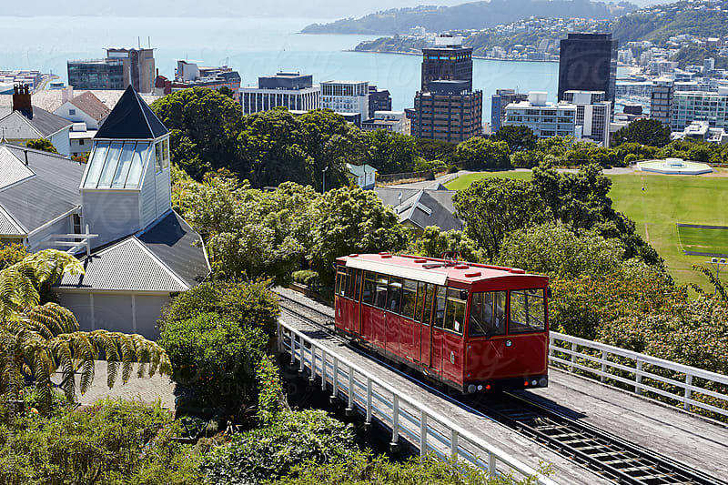 Red cable train in New Zealand by Martí Sans for Stocksy United