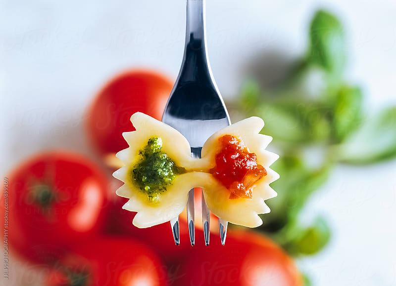 Farfalle pasta on fork by J.R. PHOTOGRAPHY for Stocksy United