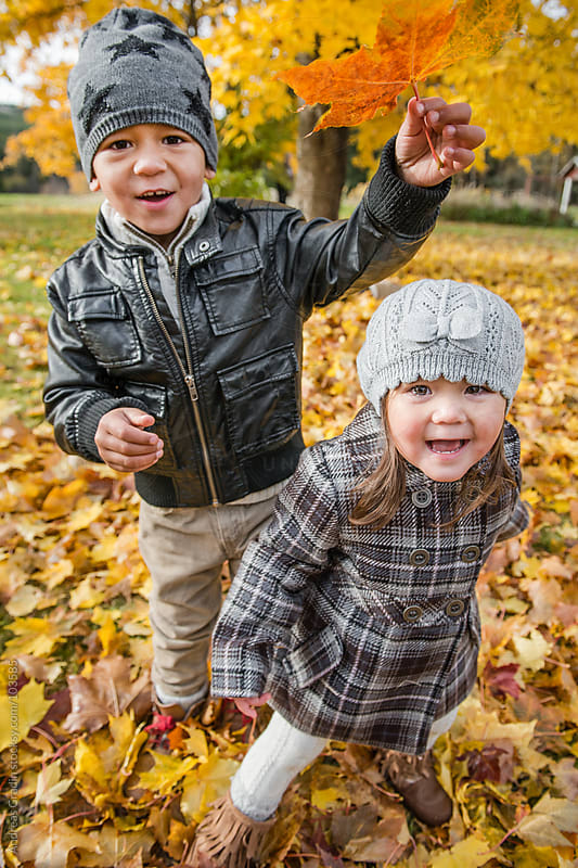 kids playing with autumn leaves by Andreas Gradin for Stocksy United