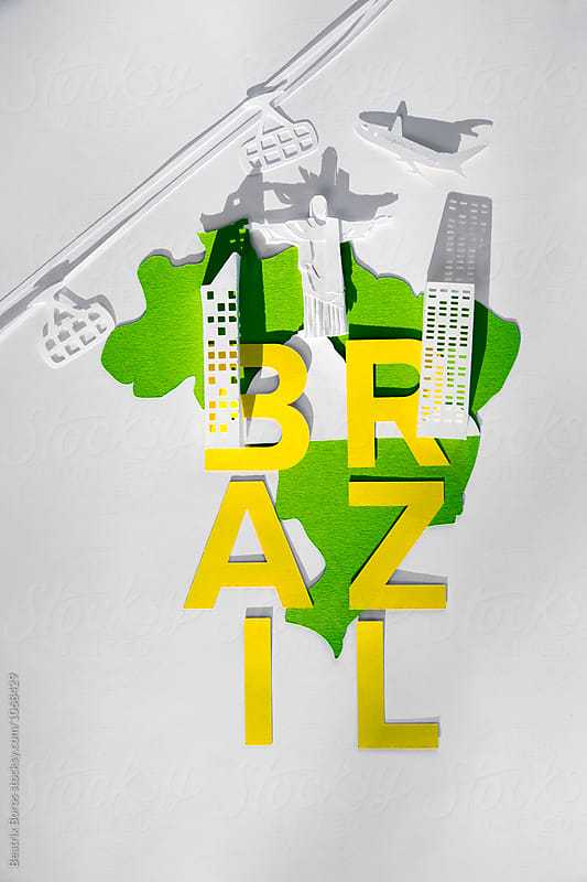 Brazil's name written on the country shape with Rio de Janeiro's symbols by Beatrix Boros for Stocksy United