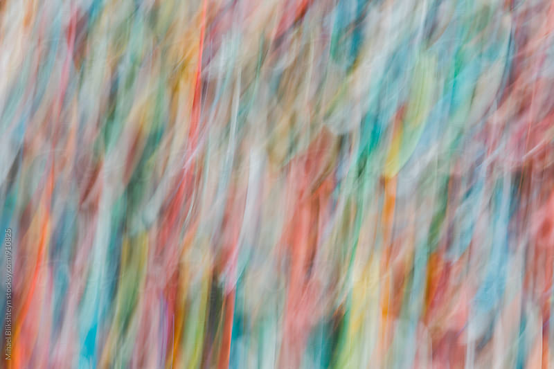 Abstract motion blur of vertical lines of Seattle's Gum Wall by Mihael Blikshteyn for Stocksy United