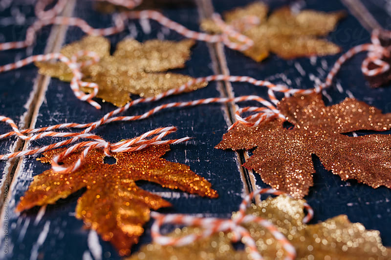 Fall leaves covered with sparkly glitter by Gabriel (Gabi) Bucataru for Stocksy United